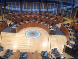 The main debating chamber at the National Assembly, soon to be full of AM's (Assembly Members)